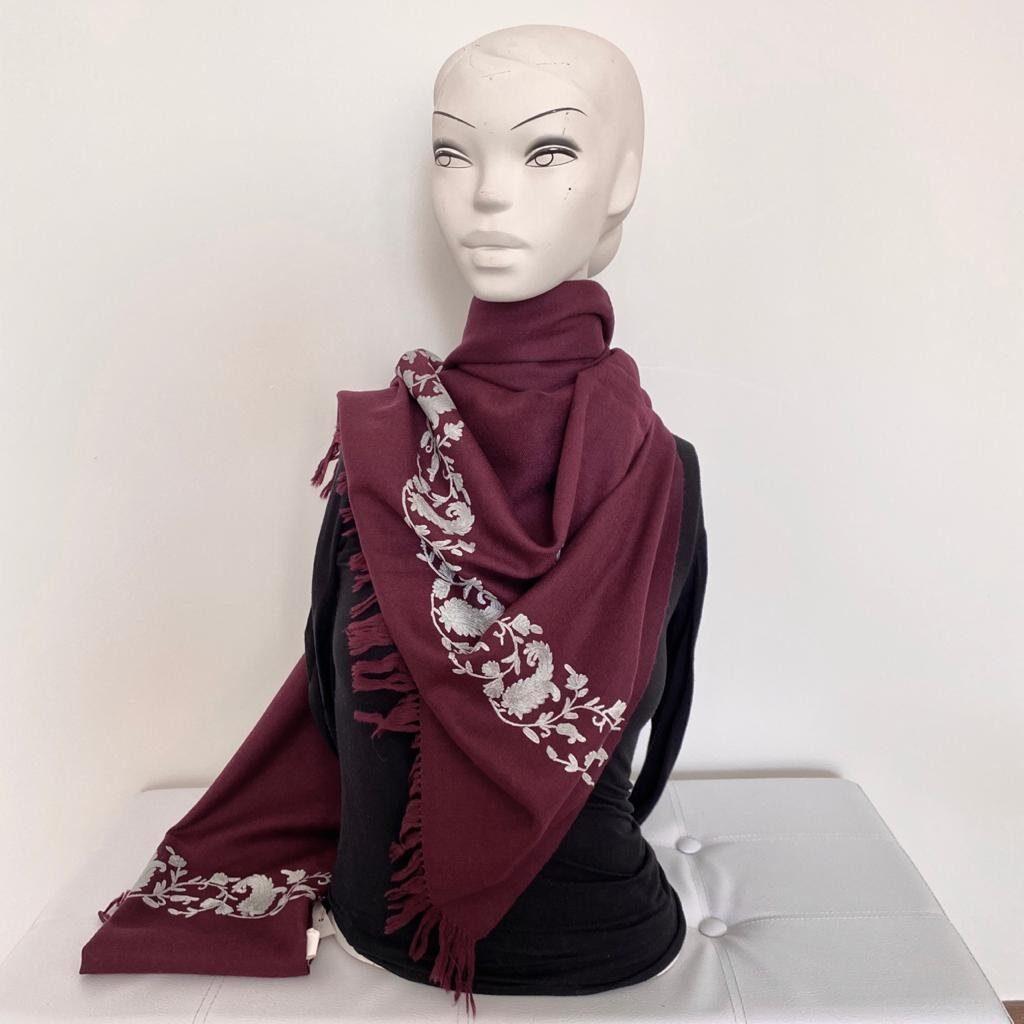 Burgundy Maroon Wool Shawl