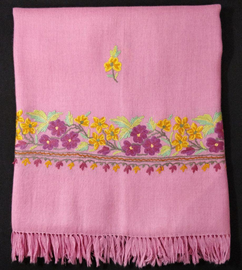 Dianthus Pink Wool Shawl