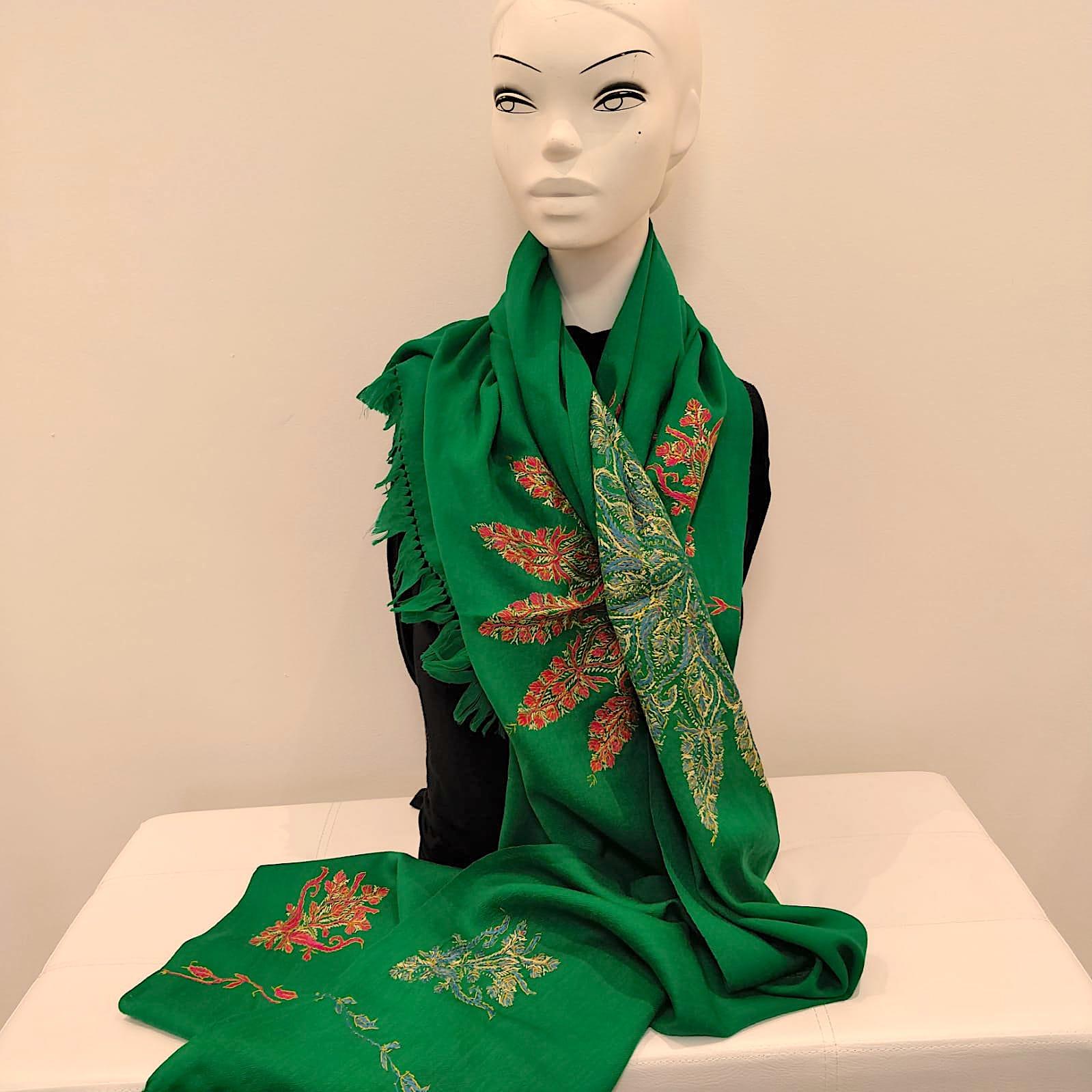 green wool shawl